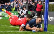 12 January 2019; Dave Kearney of Leinster scores his side's second try despite the tackle of Romain Ntamack of Toulouse during the Heineken Champions Cup Pool 1 Round 5 match between Leinster and Toulouse at the RDS Arena in Dublin. Photo by Stephen McCarthy/Sportsfile