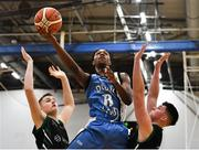 12 January 2019; Samuel Mohamed of Dublin Lions in action against Sean Condon, left, and Dylan Dunne of Portlaoise Panthers during the Hula Hoops Under 20 Men's National Cup semi-final match between Portlaoise Panthers and Dublin Lions at the Mardyke Arena UCC in Cork.  Photo by Brendan Moran/Sportsfile
