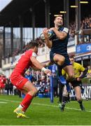 12 January 2019; Dave Kearney of Leinster collects a pass before scoring his side's second try despite the tackle of Romain Ntamack of Toulouse during the Heineken Champions Cup Pool 1 Round 5 match between Leinster and Toulouse at the RDS Arena in Dublin. Photo by Stephen McCarthy/Sportsfile