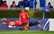 12 January 2019; Dave Kearney of Leinster scores his side's second try despite the tackle of Romain Ntamack of Toulouse during the Heineken Champions Cup Pool 1 Round 5 match between Leinster and Toulouse at the RDS Arena in Dublin. Photo by Ramsey Cardy/Sportsfile