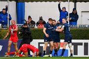 12 January 2019; Leinster's Dave Kearney, centre, celebrates with team-mate Garry Ringrose, left, and Rory O'Loughlin after scoring his side's second try during the Heineken Champions Cup Pool 1 Round 5 match between Leinster and Toulouse at the RDS Arena in Dublin. Photo by Ramsey Cardy/Sportsfile