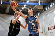 12 January 2019; Tiernan Howe of Dublin Lions in action against James Gormley of Portlaoise Panthers during the Hula Hoops Under 20 Men's National Cup semi-final match between Portlaoise Panthers and Dublin Lions at the Mardyke Arena UCC in Cork.  Photo by Brendan Moran/Sportsfile