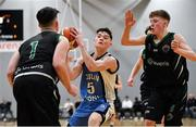 12 January 2019; Tiernan Howe of Dublin Lions in action against Dylan Dunne, left, and James Phelan of Portlaoise Panthers during the Hula Hoops Under 20 Men's National Cup semi-final match between Portlaoise Panthers and Dublin Lions at the Mardyke Arena UCC in Cork.  Photo by Brendan Moran/Sportsfile