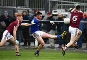 12 January 2019; Robbie Smyth of Longford in action against Ronan Wallace, left, and James Dolan of Westmeath during the Bord na Mona O'Byrne Cup semi-final match between Westmeath and Longford at Downs GAA Club in Westmeath. Photo by Sam Barnes/Sportsfile