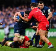 12 January 2019; James Ryan of Leinster is tackled by Rynhardt Elstadt, left, and Julien Marchand of Toulouse during the Heineken Champions Cup Pool 1 Round 5 match between Leinster and Toulouse at the RDS Arena in Dublin. Photo by Ramsey Cardy/Sportsfile