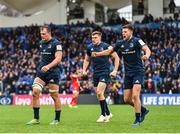 12 January 2019; Leinster players Garry Ringrose, centre, and Ross Byrne, right, celebrate their side winning a penalty during the Heineken Champions Cup Pool 1 Round 5 match between Leinster and Toulouse at the RDS Arena in Dublin. Photo by Seb Daly/Sportsfile
