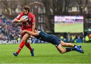 12 January 2019; Maxime Médard of Toulouse is tackled by Dave Kearney of Leinster during the Heineken Champions Cup Pool 1 Round 5 match between Leinster and Toulouse at the RDS Arena in Dublin. Photo by Seb Daly/Sportsfile
