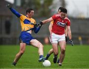 12 January 2019; Cathal O'Connor of Clare in action against James Fitzpatrick of Cork during the McGrath Cup Final match between Cork and Clare at Hennessy Park in Miltown Malbay, Co. Clare. Photo by Diarmuid Greene/Sportsfile