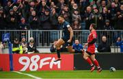 12 January 2019; Adam Byrne of Leinster celebrates after scoring his side's fourth try during the Heineken Champions Cup Pool 1 Round 5 match between Leinster and Toulouse at the RDS Arena in Dublin. Photo by Stephen McCarthy/Sportsfile