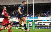 12 January 2019; Adam Byrne of Leinster celebrates after scoring his side's fourth try during the Heineken Champions Cup Pool 1 Round 5 match between Leinster and Toulouse at the RDS Arena in Dublin. Photo by Ramsey Cardy/Sportsfile