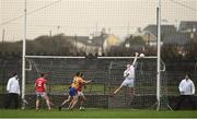 12 January 2019; Cork goalkeeper Chris Kelly concedes a long-range goal from Gordon Kelly of Clare (unseen) during the McGrath Cup Final match between Cork and Clare at Hennessy Park in Miltown Malbay, Co. Clare. Photo by Diarmuid Greene/Sportsfile