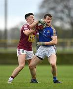 12 January 2019; Darren Quinn of Longford in action against Ronan O'Toole of Westmeath during the Bord na Mona O'Byrne Cup semi-final match between Westmeath and Longford at Downs GAA Club in Westmeath. Photo by Sam Barnes/Sportsfile
