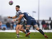 12 January 2019; James Mitchell of Connacht is tackled by Jono Ross of Sale Sharks during the Heineken Challenge Cup Pool 3 Round 5 match between Connacht and Sale Sharks at the Sportsground in Galway. Photo by Harry Murphy/Sportsfile