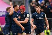12 January 2019; Adam Byrne, second from left, celebrates after scoring his side's fourth try with his Leinster team-mates, from left, Jordan Larmour, Josh van der Flier and Garry Ringrose during the Heineken Champions Cup Pool 1 Round 5 match between Leinster and Toulouse at the RDS Arena in Dublin. Photo by Stephen McCarthy/Sportsfile