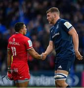 12 January 2019; Cheslin Kolbe of Toulouse and Ross Molony of Leinster shake hands following the Heineken Champions Cup Pool 1 Round 5 match between Leinster and Toulouse at the RDS Arena in Dublin. Photo by Seb Daly/Sportsfile