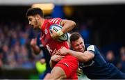 12 January 2019; Romain Ntamack of Toulouse is tackled by Rory O'Loughlin of Leinster during the Heineken Champions Cup Pool 1 Round 5 match between Leinster and Toulouse at the RDS Arena in Dublin. Photo by Ramsey Cardy/Sportsfile