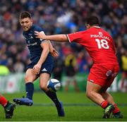 12 January 2019; Ross Byrne of Leinster kicks through the Toulouse defence during the Heineken Champions Cup Pool 1 Round 5 match between Leinster and Toulouse at the RDS Arena in Dublin. Photo by Ramsey Cardy/Sportsfile