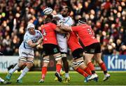 12 January 2019; Leone Nakarawa of Racing 92 is tackled by Alan O'Connor, Jordi Murphy and Marty Moore of Ulster during the Heineken Champions Cup Pool 4 Round 5 match between Ulster and Racing 92 at the Kingspan Stadium in Belfast, Co. Antrim. Photo by Oliver McVeigh/Sportsfile