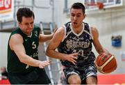12 January 2019; Eimantus Kumpys of Drogheda Bullets in action against Jurgis Butkevicius of BC Leixlip Zalgiris during the Hula Hoops NICC Men's National Cup semi-final match between Drogheda Bullets and BC Leixlip Zalgiris 1 at the Mardyke Arena UCC in Cork.  Photo by Brendan Moran/Sportsfile