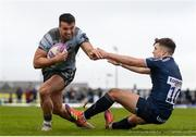 12 January 2019; Cian Kelleher of Connacht is tackled by Kieran Wilkinson of Sale Sharks during the Heineken Challenge Cup Pool 3 Round 5 match between Connacht and Sale Sharks at the Sportsground in Galway. Photo by Harry Murphy/Sportsfile