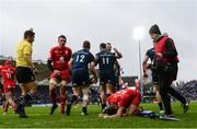 12 January 2019; Dave Kearney, 11, is congratuled by his Leinster team-mate Cian Healy after scoring his side's second try during the Heineken Champions Cup Pool 1 Round 5 match between Leinster and Toulouse at the RDS Arena in Dublin. Photo by Stephen McCarthy/Sportsfile