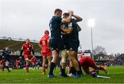 12 January 2019; Dave Kearney is congratuled by his Leinster team-mate Rory O'Loughlin, left, after scoring his side's second try during the Heineken Champions Cup Pool 1 Round 5 match between Leinster and Toulouse at the RDS Arena in Dublin. Photo by Stephen McCarthy/Sportsfile
