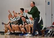 12 January 2019; BC Leixlip Zalgiris head coach Mazvydas Cepliauskas and his players celebrate a score during the Hula Hoops NICC Men's National Cup semi-final match between Drogheda Bullets and BC Leixlip Zalgiris 1 at the Mardyke Arena UCC in Cork.  Photo by Brendan Moran/Sportsfile