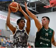 12 January 2019; Denzel Ebose of Drogheda Bullets  in action against Dalius Tomosauskis of BC Leixlip Zalgiris during the Hula Hoops NICC Men's National Cup semi-final match between Drogheda Bullets and BC Leixlip Zalgiris 1 at the Mardyke Arena UCC in Cork.  Photo by Brendan Moran/Sportsfile
