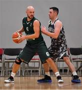 12 January 2019; Kestutis Damulevic of BC Leixlip Zalgiris in action against Ciaran McGroggan of Drogheda Bullets during the Hula Hoops NICC Men's National Cup semi-final match between Drogheda Bullets and BC Leixlip Zalgiris 1 at the Mardyke Arena UCC in Cork.  Photo by Brendan Moran/Sportsfile