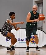 12 January 2019; Kestutis Damulevic of BC Leixlip Zalgiris  in action against Denzel Ebose of Drogheda Bullets during the Hula Hoops NICC Men's National Cup semi-final match between Drogheda Bullets and BC Leixlip Zalgiris 1 at the Mardyke Arena UCC in Cork.  Photo by Brendan Moran/Sportsfile
