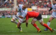 12 January 2019; Simon Zebo of Racing 92 goes over for his side's second try despite the tackle of Louis Ludik of Ulster during the Heineken Champions Cup Pool 4 Round 5 match between Ulster and Racing 92 at the Kingspan Stadium in Belfast, Co. Antrim. Photo by Oliver McVeigh/Sportsfile