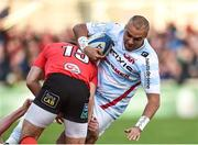 12 January 2019; Simon Zebo of Racing 92 is tackled by Louis Ludik of Ulster during the Heineken Champions Cup Pool 4 Round 5 match between Ulster and Racing 92 at the Kingspan Stadium in Belfast, Co. Antrim. Photo by Oliver McVeigh/Sportsfile
