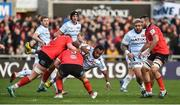 12 January 2019; Leone Nakarawa of Racing 92 is tackled by Sean Reidy and Marty Moore of Ulster during the Heineken Champions Cup Pool 4 Round 5 match between Ulster and Racing 92 at the Kingspan Stadium in Belfast, Co. Antrim. Photo by Oliver McVeigh/Sportsfile