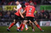 12 January 2019; Guram Gogichashvili of Racing 92 is tackled by Eric O'Sullivan, left, and Rory Best of Ulster during the Heineken Champions Cup Pool 4 Round 5 match between Ulster and Racing 92 at the Kingspan Stadium in Belfast, Co. Antrim. Photo by David Fitzgerald/Sportsfile