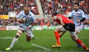 12 January 2019; Simon Zebo of Racing 92 going in to score his side's second try during the Heineken Champions Cup Pool 4 Round 5 match between Ulster and Racing 92 at the Kingspan Stadium in Belfast, Co. Antrim. Photo by Oliver McVeigh/Sportsfile