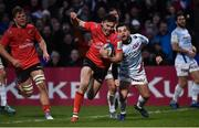 12 January 2019; Jacob Stockdale of Ulster on his way to scoring his side's third try during the Heineken Champions Cup Pool 4 Round 5 match between Ulster and Racing 92 at the Kingspan Stadium in Belfast, Co. Antrim. Photo by Oliver McVeigh/Sportsfile