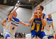 12 January 2019; Mike Garrow of UCD Marian in action against CJ Fulton of Belfast Star during the Hula Hoops Men's Pat Duffy National Cup semi-final match between UCD Marian and Belfast Star at the Mardyke Arena UCC in Cork.  Photo by Brendan Moran/Sportsfile