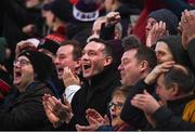 12 January 2019; Ulster supporters react as Jacob Stockdale goes over to score their side's third try during the Heineken Champions Cup Pool 4 Round 5 match between Ulster and Racing 92 at the Kingspan Stadium in Belfast, Co. Antrim. Photo by David Fitzgerald/Sportsfile