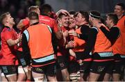 12 January 2019; Jacob Stockdale of Ulster, centre, celebrates with team-mates after scoring his side's third try during the Heineken Champions Cup Pool 4 Round 5 match between Ulster and Racing 92 at the Kingspan Stadium in Belfast, Co. Antrim. Photo by Oliver McVeigh/Sportsfile