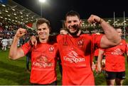 12 January 2019; Louis Ludik and Marcell Coetzee of Ulster celebrate after the Heineken Champions Cup Pool 4 Round 5 match between Ulster and Racing 92 at the Kingspan Stadium in Belfast, Co. Antrim. Photo by Oliver McVeigh/Sportsfile