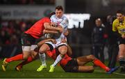 12 January 2019; Juan Imhoff of Racing 92 is tackled by Louis Ludik, left, and Robert Baloucoune of Ulster during the Heineken Champions Cup Pool 4 Round 5 match between Ulster and Racing 92 at the Kingspan Stadium in Belfast, Co. Antrim. Photo by David Fitzgerald/Sportsfile