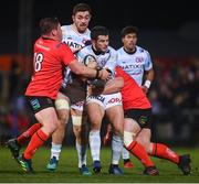 12 January 2019; Brice Dulin of Racing 92 is tackled by Ross Kane, left, and Marcell Coetzee of Ulster the Heineken Champions Cup Pool 4 Round 5 match between Ulster and Racing 92 at the Kingspan Stadium in Belfast, Co. Antrim. Photo by David Fitzgerald/Sportsfile