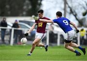 12 January 2019; Sean Flanagan of Westmeath in action against Peter Hanley of Longford during the Bord na Mona O'Byrne Cup semi-final match between Westmeath and Longford at Downs GAA Club in Westmeath. Photo by Sam Barnes/Sportsfile