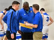 12 January 2019; Belfast Star assistant coach Javan Dupree, centre, with assistant coach Aidan Quinn, left, and head coach Adrian Fulton during the Hula Hoops Men's Pat Duffy National Cup semi-final match between UCD Marian and Belfast Star at the Mardyke Arena UCC in Cork. Photo by Brendan Moran/Sportsfile