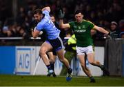 12 January 2019; Seán McMahon of Dublin in action against Darragh Campion of Meath during the Bord na Mona O'Byrne Cup semi-final match between Dublin and Meath at Parnell Park in Dublin. Photo by Sam Barnes/Sportsfile