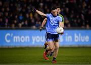 12 January 2019; Ryan Basquel of Dublin kicks a point during the Bord na Mona O'Byrne Cup semi-final match between Dublin and Meath at Parnell Park in Dublin. Photo by Sam Barnes/Sportsfile