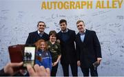 12 January 2019; Leinster players, from left, James Lowe, Caelan Doris and Dan Leavy with supporters at Autograph Alley prior to the Heineken Champions Cup Pool 1 Round 5 match between Leinster and Toulouse at the RDS Arena in Dublin. Photo by Stephen McCarthy/Sportsfile