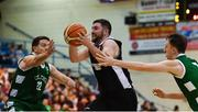 12 January 2019; Daniel O'Sullivan of Tradehouse Central Ballincollig in action against Fabio Hernandez, left, and Cian O Reilly of Limerick Celtics during the Hula Hoops Presidents National Cup semi-final match between Tradehouse Central Ballincollig and Limerick Celtics at Neptune Stadium in Cork.  Photo by Eóin Noonan/Sportsfile