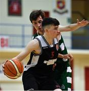12 January 2019; Dylan Corkery of Tradehouse Central Ballincollig in action against Aidan O Brien of Limerick Celtics during the Hula Hoops Presidents National Cup semi-final match between Tradehouse Central Ballincollig and Limerick Celtics at Neptune Stadium in Cork.  Photo by Eóin Noonan/Sportsfile
