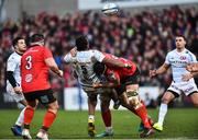 12 January 2019; Leone Nakarawa of Racing 92 is tackled by Kieran Treadwell and Marcell Coetzee of Ulster during the Heineken Champions Cup Pool 4 Round 5 match between Ulster and Racing 92 at the Kingspan Stadium in Belfast, Co. Antrim. Photo by Oliver McVeigh/Sportsfile